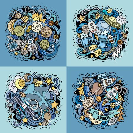 Space cartoon vector doodle illustration set