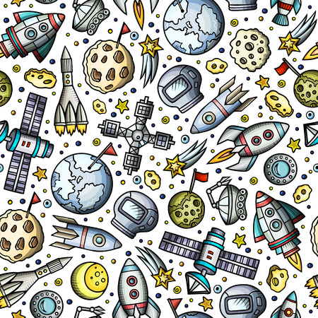 Cartoon hand-drawn space, planets seamless pattern Фото со стока - 97447930