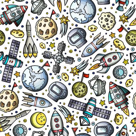 Cartoon hand-drawn space, planets seamless pattern Illustration