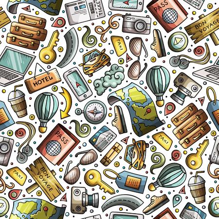 多くのオブジェクトを持つ漫画旅行シームレスなパターン