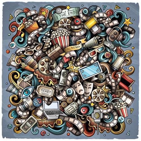 Cartoon vector doodles Cinema illustration Vettoriali