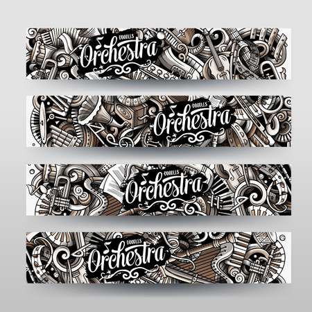 Cartoon graphics vector hand drawn doodles Classic Music horizontal banners