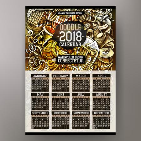 Cartoon colorful hand drawn doodles Classic music 2018 year calendar