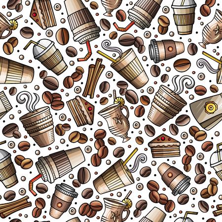 Cartoon coffee shop seamless pattern  イラスト・ベクター素材