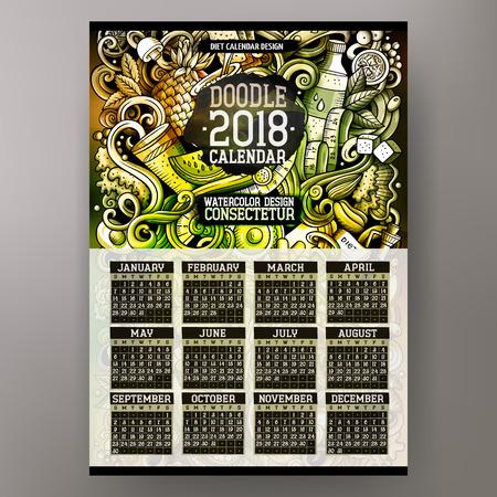 Cartoon colorful hand drawn doodles Design for 2018 year calendar Illustration