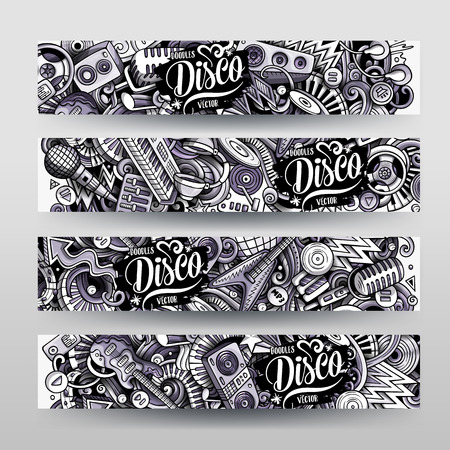 Cartoon graphics vector hand drawn doodles Disco Music horizontal banners Illustration
