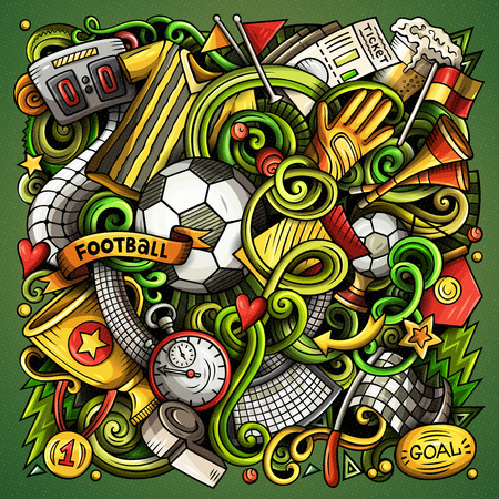 Cartoon vector doodles Football illustration Çizim