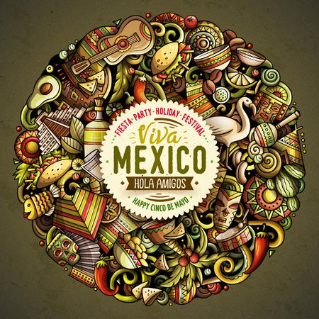 Cartoon vector doodles Latin America illustration Vettoriali