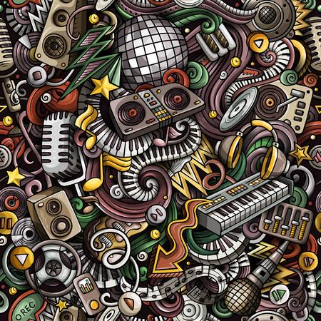 Cartoon cute doodles Disco music seamless pattern. Colorful deta