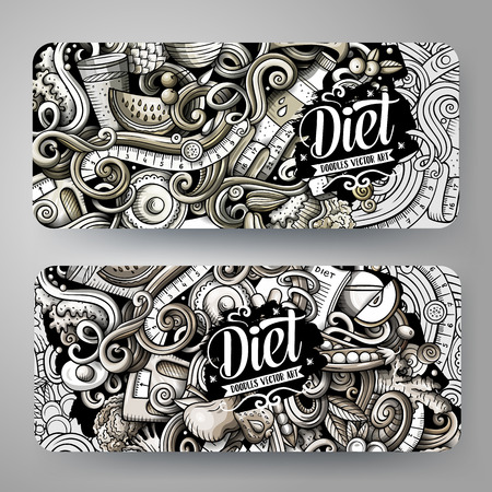 Cartoon graphics vector hand drawn doodles Diet food horizontal banners Illustration