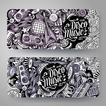 Cartoon graphics vector hand drawn doodles Disco Music horizontal banners Ilustrace