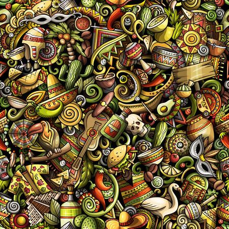 Cartoon cute doodles Latin America seamless pattern Ilustração