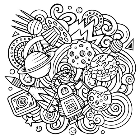 Cartoon vector doodles Space illustration. Line art, detailed, with lots of objects background. All objects separate. Sketchy cosmic funny picture