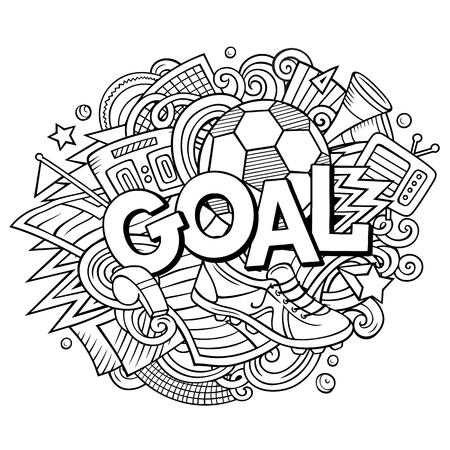 Cartoon cute doodles hand drawn Goal illustration