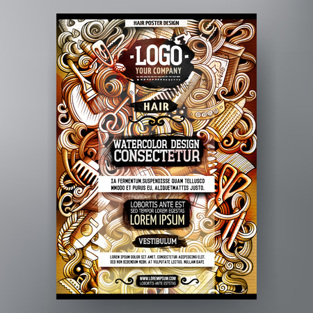 Cartoon watercolor hand drawn doodles Hair salon poster design template