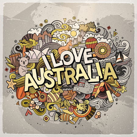 Cartoon cute doodles hand drawn I Love Australia inscription