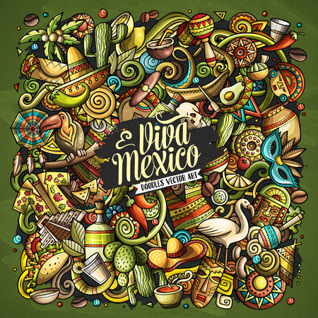 Cartoon vector doodles with Viva Mexico text illustration. 일러스트