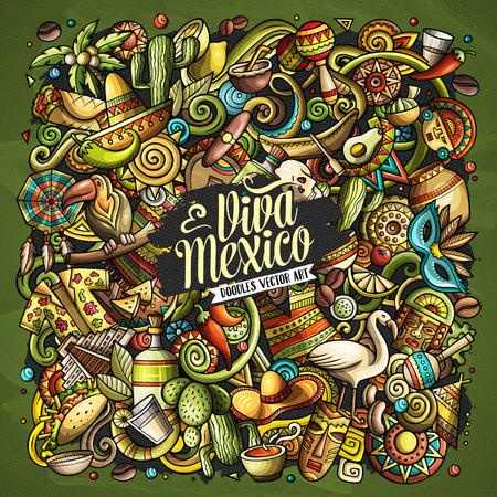 Cartoon vector doodles with Viva Mexico text illustration. Stock Illustratie