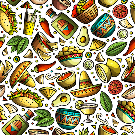 Cartoon hand-drawn latin american, mexican seamless pattern