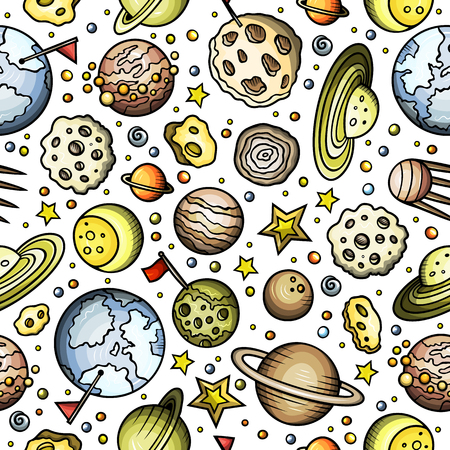 漫画の手描きスペース、惑星シームレスパターン