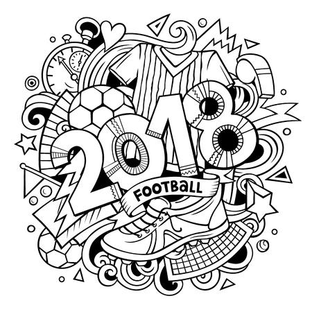 Cartoon cute doodles hand drawn 2018 Football illustration. Illustration