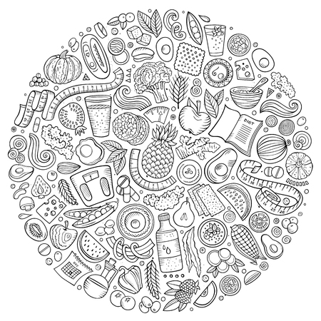 Set of vector cartoon doodle Diet food objects collected in a circle Illustration