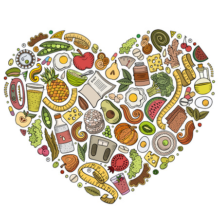 Set of vector cartoon doodle Diet food objects collected in a heart