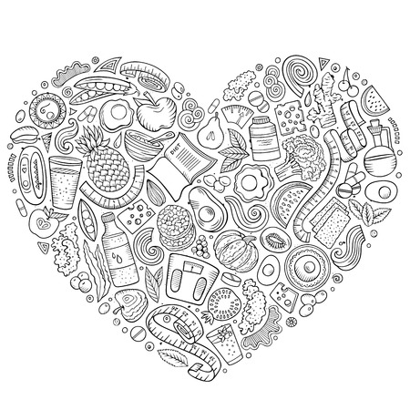 Black and white cartoon doodle of Diet food objects collected in a heart.
