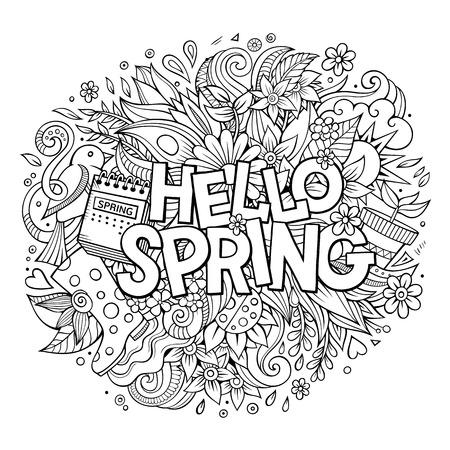 Cartoon cute doodles hand drawn Hello Spring illustration