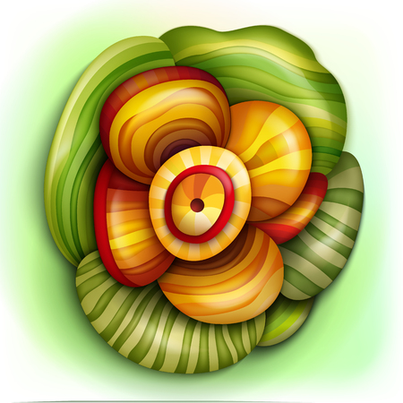 Volumetric abstract fantastic colorful flower. Иллюстрация