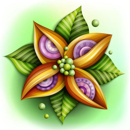 ボリューム抽象的な幻想的なカラフルな花
