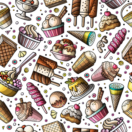 Cartoon hand-drawn ice cream doodles seamless pattern Imagens - 98141239