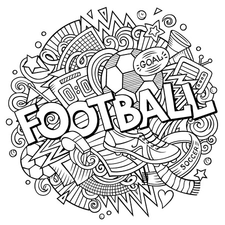 Black and White cartoon cute doodle hand drawn of Football illustration. Ilustração