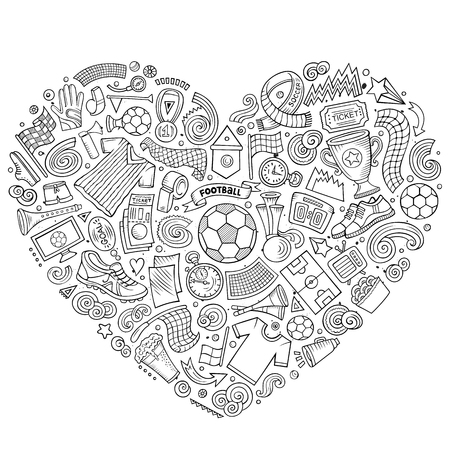 Black and White cartoon doodle of Football objects collected in a heart. Illustration