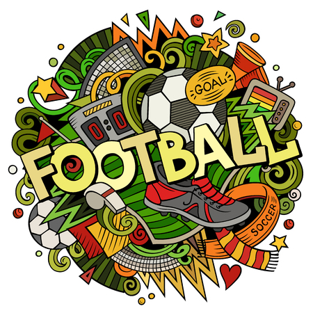Cartoon cute doodles hand drawn Football illustration