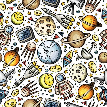 Cartoon hand-drawn space, planets seamless pattern.  イラスト・ベクター素材