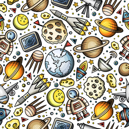Cartoon hand-drawn space, planets seamless pattern. Иллюстрация