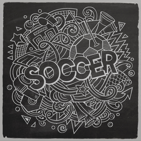 Cartoon cute doodles hand drawn Soccer illustration