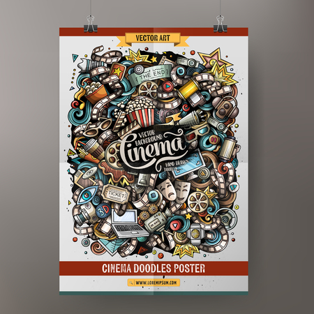 Cartoon colorful hand drawn doodles cinema poster template. Very detailed, with lots of objects illustration. Funny vector artwork. Corporate identity design. 版權商用圖片 - 98204715