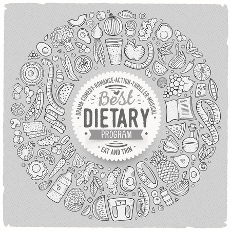 Set of vector cartoon doodle Diet food objects collected in a round border Illustration