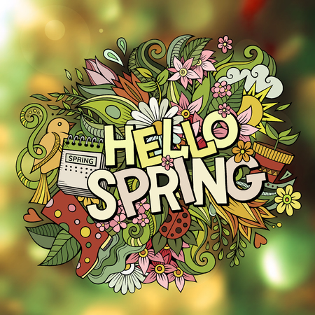 Cartoon cute doodles hand drawn Hello Spring word. Colorful illustration. Line art detailed, with lots of objects background. Funny vector artwork