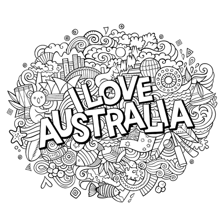 Cartoon cute doodles hand drawn I Love Australia inscription