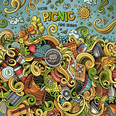 Cartoon vector picnic doodle illustration Ilustrace