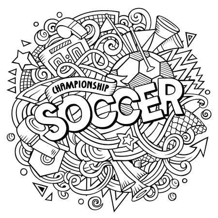 Cartoon cute doodles hand drawn Soccer word. Contour illustration. Line art detailed, with lots of objects background. Funny vector artwork Illusztráció