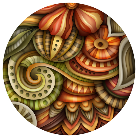 ボリューム抽象的な幻想的なカラフルな丸い花のイラスト