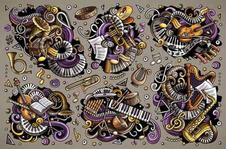 Colorful vecteur griffonnages ensemble de bande dessinée classique instruments de musique animales monstres Banque d'images - 98207374