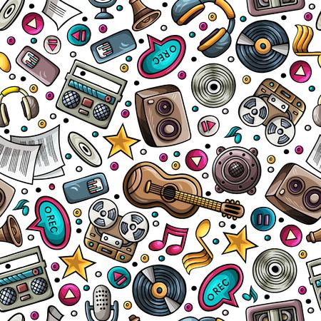 Cartoon hand-drawn musical instruments seamless pattern