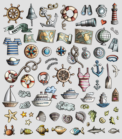 Colorful vector hand drawn set of Marine, Nautical cartoon 3d doodle objects, symbols and items.