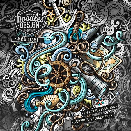 Nautical doodles vector illustration
