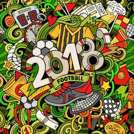 Cartoon cute doodles hand drawn 2018 Football illustration